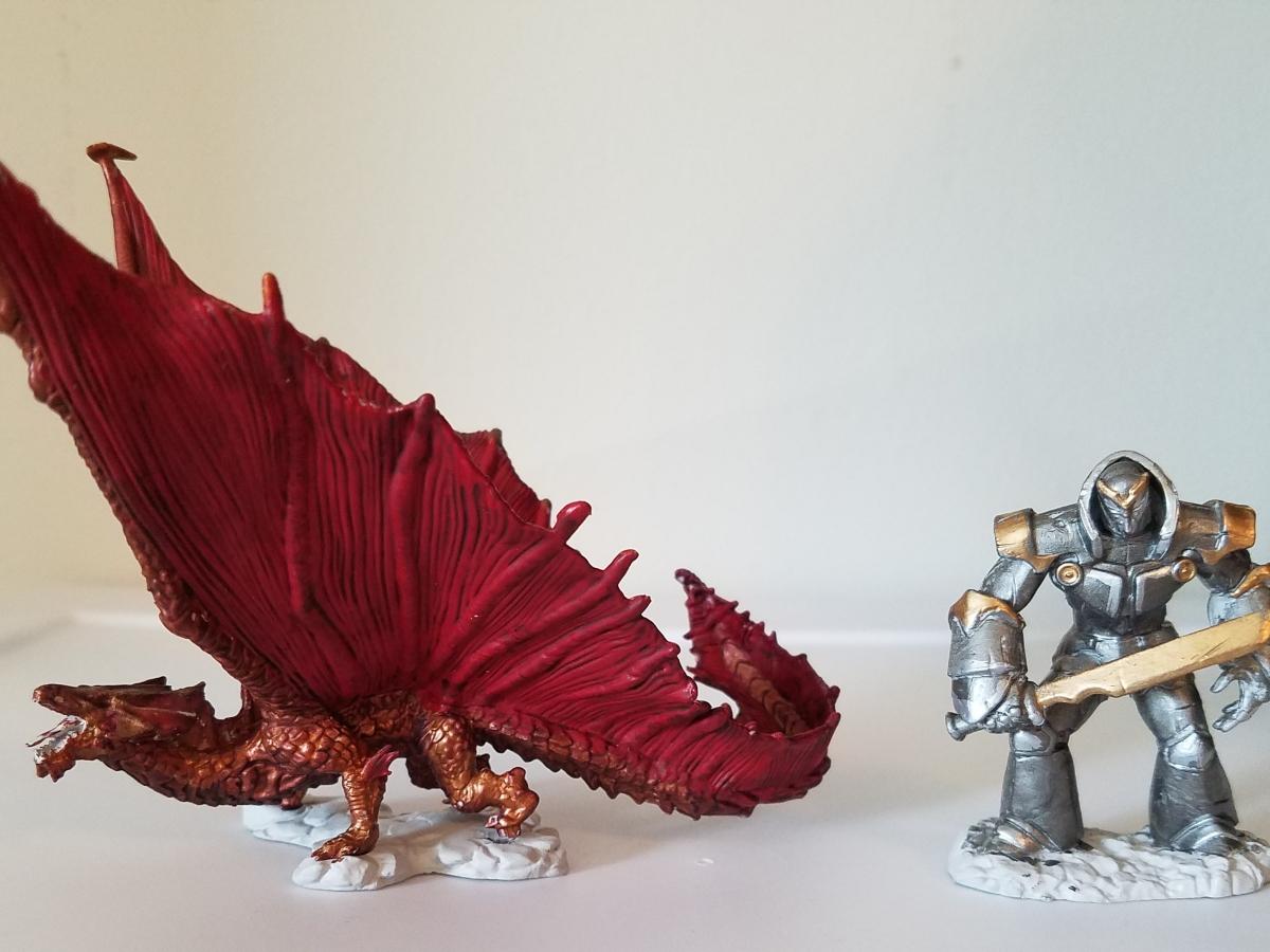 D&D Iron Golem and Copper Dragon mini