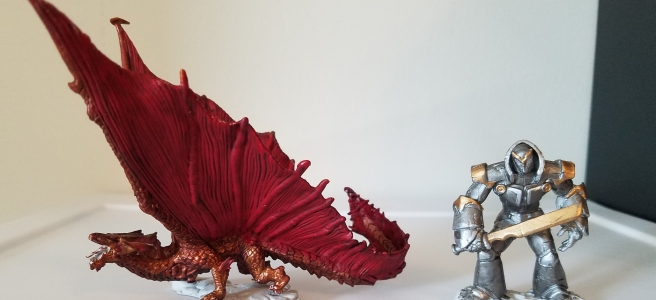 D&D Iron Golem and Copper Dragon mini