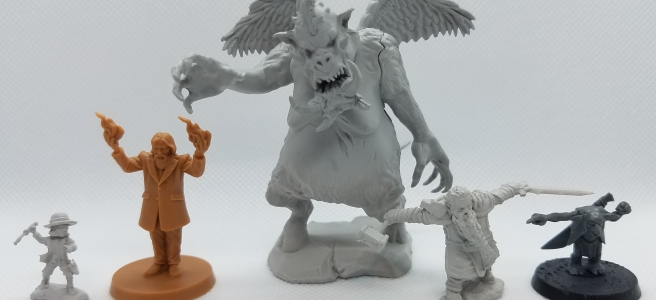 assorted miniatures for D&D, Death May Die, and Warhammer