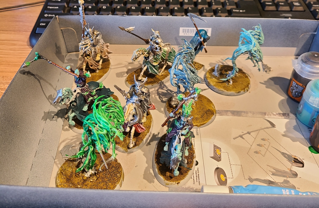 half finished warhammer ghosts and skeletons